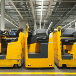 lift trucks parked with floor marking